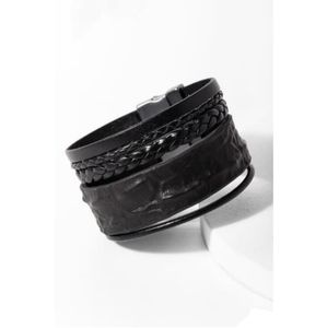 Saachi Black Leather Rumple Bracelet NWT